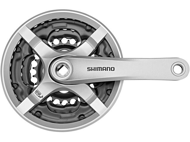 Shimano FC-TY501 Kurbelgarnitur 6/7/8-fach 42-34-24 Zähne mit Kettenschutzring Silber